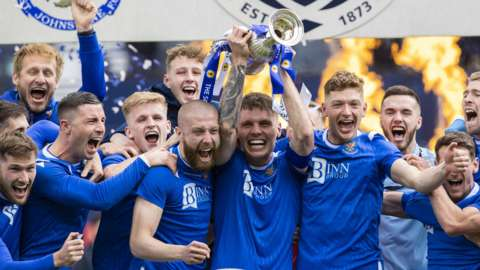 St Johnstone celebrate with the Scottish Cup