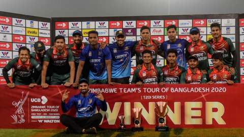 Bangladesh with the T20 series trophy
