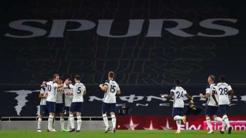 Tottenham celebrate with no fans