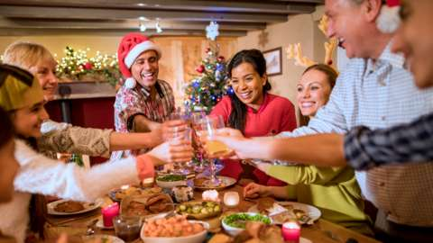 A family toast and celebrate at Christmas dinner