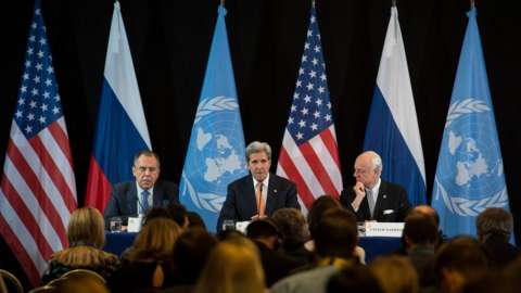 Russian Foreign Minister Sergei Lavrov US Secretary of State John Kerry and the UN's Staffan de Mistura after the International Syria Support Group meeting in Munich