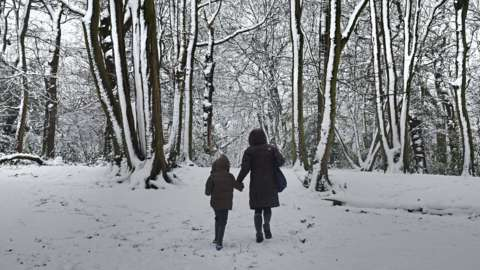 Adult walking with child in the snow