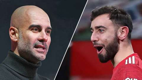 Man City manager Pep Guardiola and Manchester United's Bruno Fernandes