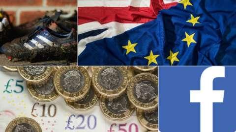 Boots, EU flag, pound coins, Facebook