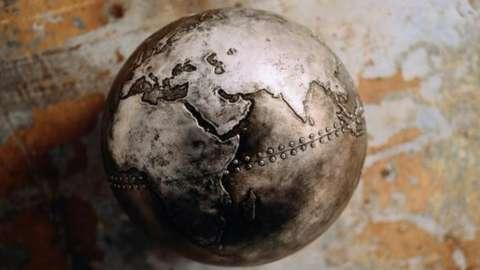 A metal globe