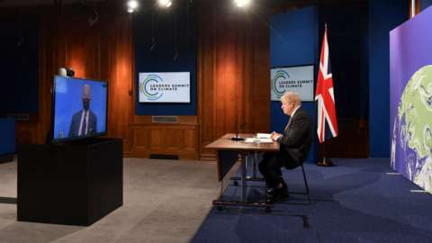 Biden and Johnson in a virtual conference