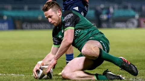 Jack Carty goes over for a Connacht try against Leinster