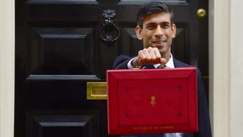 Chancellor of the Exchequer Rishi Sunak holding the Budget box on Budget Day