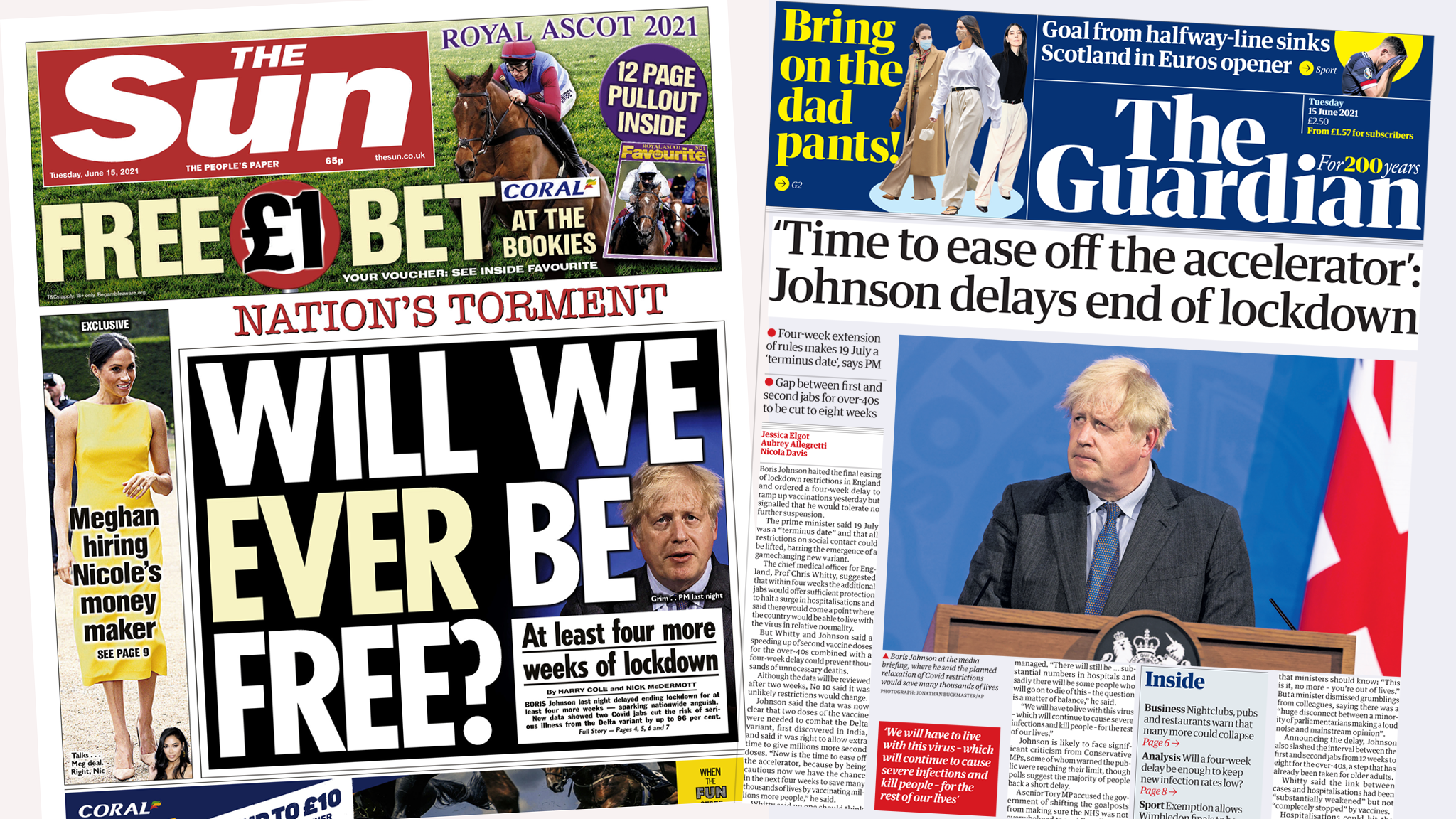 The Sun and the Guardian front page