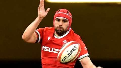 Cory Hill being lifted up by Wales players during a line-out against England in February 2021