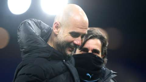 Pep Guardiola and his assistant Lorenzo Buenaventura