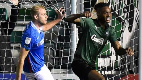 Jerome Opoku equalises for Plymouth Argyle