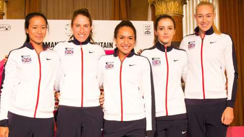 Great Britain Fed Cup team's Anne Keothavong, Johann Konta, Heather Watson, Laura Robson and Jocelyn Rae pose for pictures