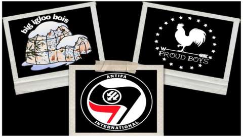 Photo collage of Antifa, Boogaloo Bois and Proud Boys logos