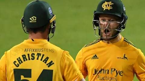 Dan Christian and Ben Duckett celebrate Notts Outlaws winning the T20 Blast final