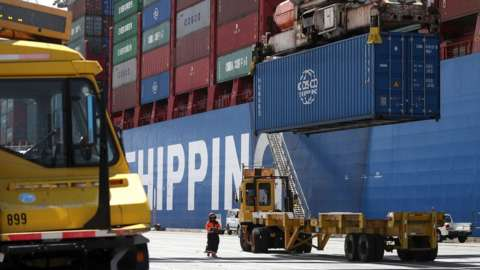 Shipping container from Hong Kong being offloaded in Oakland