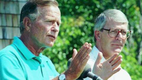 President George H.W.Bush and John Major in 1991