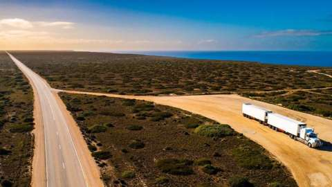 Truck parked on the Nullarbor Plain