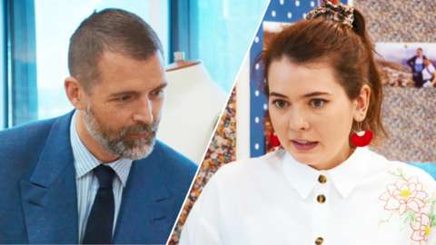 Split image of Great British Sewing Bee judge Patrick Grant and contestant Serena