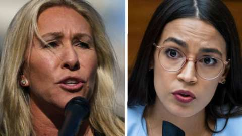 Lawmaker known as MTG (left) and AOC