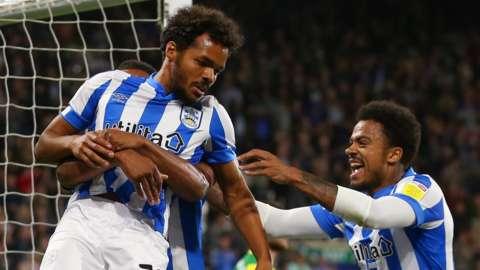 Huddersfield celebrate their goal