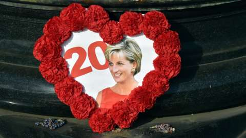 A photograph of Princess Diana and the number 20, framed by flowers in a heart shape