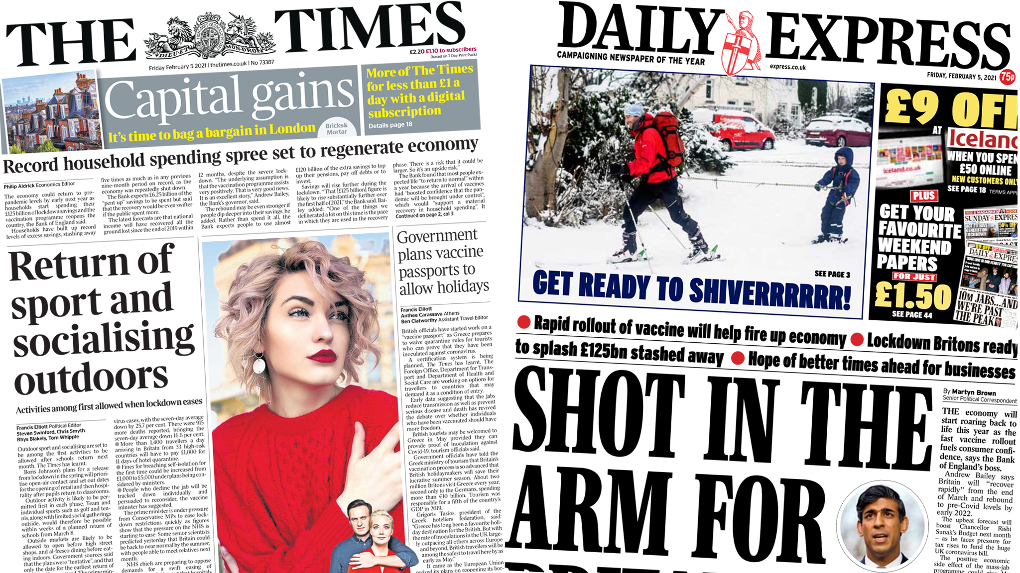 Front pages for 5 February