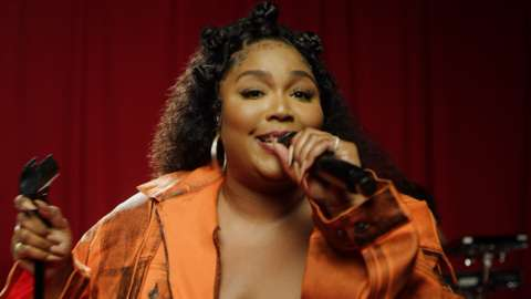Lizzo performing in Radio 1's Live Lounge