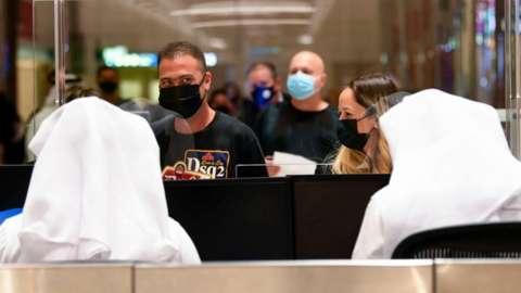 Passport control at Dubai International Airport