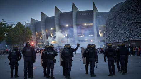 Police outside Paris St-Germain's stadium