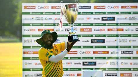 South Africa captain Temba Bavuma with the T20 series trophy