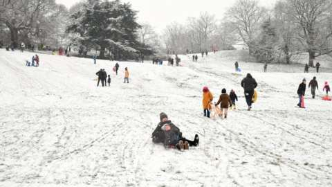 People sledging in Greenwich Park