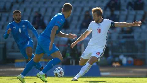 Harry Kane shoots during England's win over Iceland in September