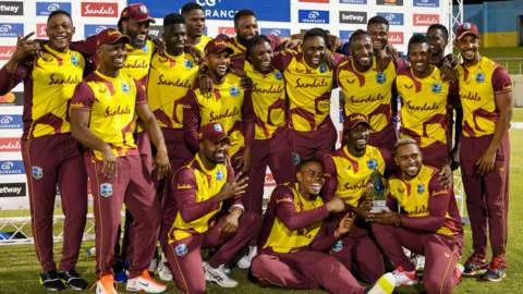 West Indies with the T20 series trophy