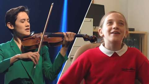 Stephanie Childress playing violin and a young girl smiling