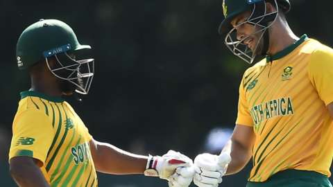 A fist-bump between South Africa pair Temba Bavuma and Reeza Hendricks in Saturday's T20 at Stormont