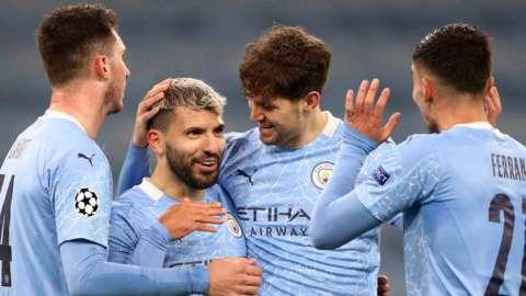 Sergio Aguero celebrates scoring against Marseille