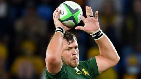 Duane Vermeulen jumps to win a lineout in Saturday's game between South Africa and New Zealand in Australia