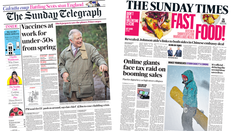 The Sunday Telegraph and the Sunday Times front pages