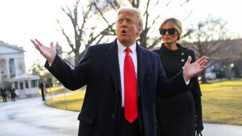 Donald Trump and Melania Trump depart the White House on January 21, 2021