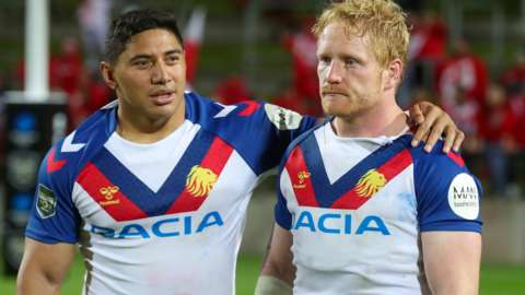 James Graham is consoled after Great Britain's defeat