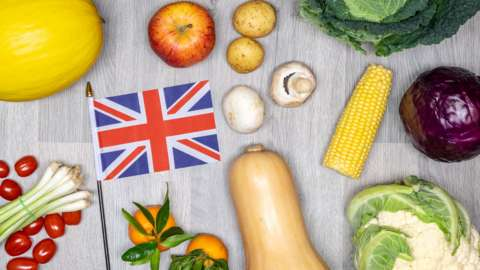 Fresh produce and a British flag