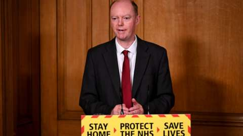 Prof Chris Whitty at a Downing Street briefing