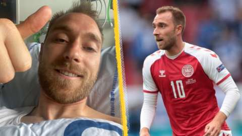 Christian Eriksen pictured with his thumb up while recovering in hospital and playing for Denmark