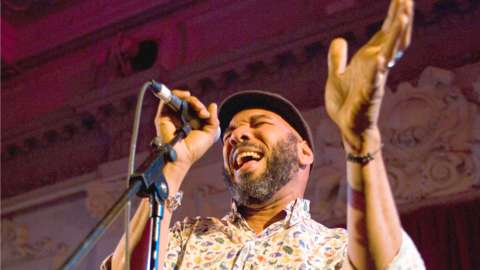 Anthony Joseph performing on stage at Bush Hall in London