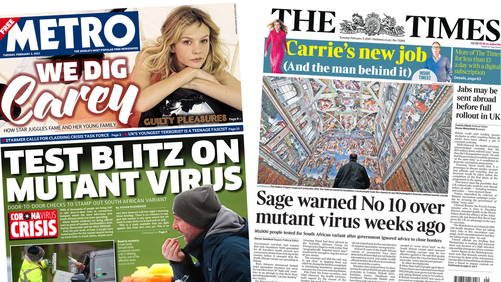 Front pages for 2 February 2021