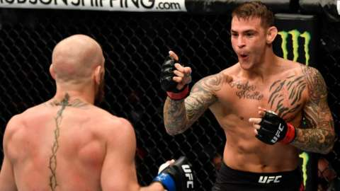Dustin Poirier during his fight with Conor McGregor at UFC 257