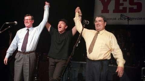David Trimble and John Hume with Bono