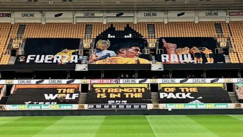 Supporters pay for Molineux message for Raul Jimenez as he recovers from a fractured skull.
