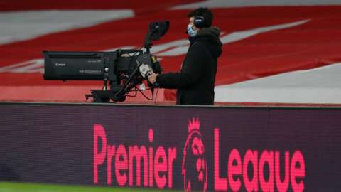 TV camera pitch side at a Premier League game